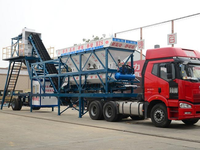 YHZS35 mobile concrete batch plant exported to Myanmar